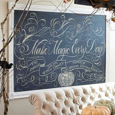 Hang large framed chalkboards in your home to display notes of fall welcome and Halloween cheer. Switch up the frame and chalk colors to match your decorating style.