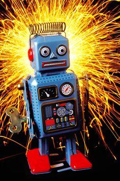 Blue Toy Robot by Garry Gay Blue Toy Robot Photograph - Blue Toy Robot Fine Art Print Vintage Robots, Retro Robot, Vintage Toys, Robot Kits, I Robot, Metal Toys, Tin Toys, Robot Theme, Domo Arigato