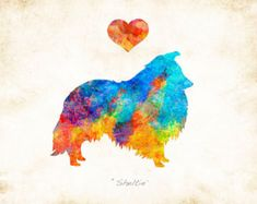 Sheltie Dog Breed Watercolor Art Print Signed by Artist Dan Morris, Choose color, Add dog's name option, In Loving Memory Option Dog Breed Names, Dog Names, Dog Breeds, Loki Tattoo, Dan Morris, Dog Silhouette, Types Of Printing, Sheltie, Art Boards