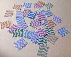 Card Shapes For Craft,Postage Stamps,Chevron Print in Assorted Colours,100pk £1.20