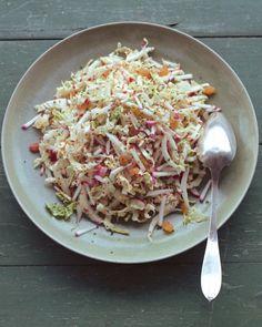 Shredded Napa Cabbage Salad with Radishes, Golden Raisins, and Dijon Dressing
