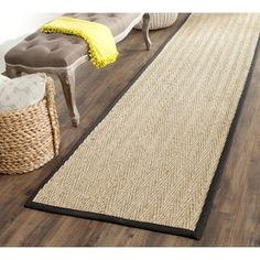 Shop for Safavieh Hand-woven Sisal Natural/ Black Seagrass Runner (2'6 x 16'). Get free shipping at Overstock.com - Your Online Home Decor…
