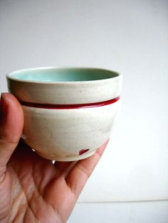 Stoneware Red Heart Cup With Aqua Interior ~ New Moon Studio