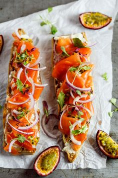 Smoked salmon tostas with onion and herbs