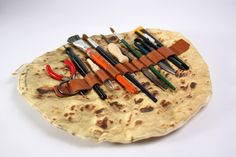 """"""" Pita Bread Pencil Holder by Mohar Design Hold it right there, that pencil holder is not for putting in your mouf! Inspired by Ashtanur, a local pita bread of Jerusalem, this handy faux pita bread. Industrial Design Portfolio, Pita Pockets, Tacos, Sweet Station, Pita Bread, Pen Case, Food Design, Getting Organized, Cravings"""