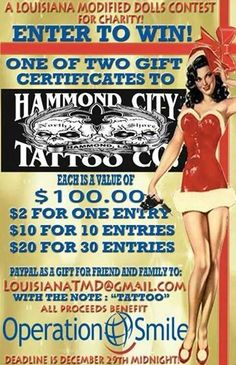 Purchase raffle tickets from the Louisiana Modified Dolls and get a chance to win one of the $100 tattoo gift certificate! All proceeds support our charity of this month, Operation Smile!  #modifieddolls louisianadolls #modifiedwomen #supporting #charities #fundraising #purchase #raffletickets #inaidof #operationsmile #win #tattoogiftcertificate