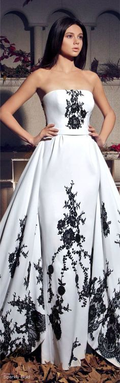 Tarek Sinno ~ White Strapless Ball Gown w Black Floral Embroidery 2015