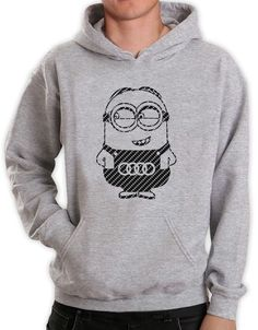 The hoodie is super comfortable, it features a large pocket with two entrances (One for each hand), which is ideal for keeping your hands warm. Large hood which can be set tight or loose, depends on you! Minion Birthday, Funny Prints, Hand Warmers, Hoodies, Sweatshirts, Carbon Fiber, Minions, Audi, Great Gifts