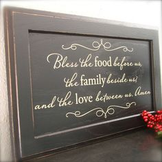 Black and Cream Sign on repurposed wood - Bless the food before us, the family beside us, and the love between us on Etsy, $65.00