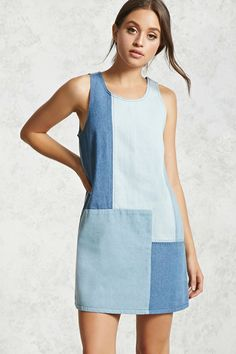 Forever 21 Contemporary - A denim shift dress featuring a patchwork design, scoop neckline, exposed stitching, a sleeveless cut,  and an exposed side zipper.