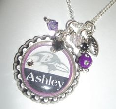 "Personalized Jewelry Bottle cap Baltimore Ravens Necklace Pendant (would get the name ""Ray"" instead). LOVE THIS! $14.00, via Etsy."