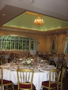 basic room setup with floral centrepieces