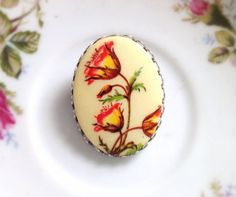 Vintage Oval Floral Brooch. Fall Colors. by NicoleNicoletta