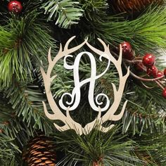 Unfinished wood Laser Cut Antler Ornament is ideal for nature lovers and hunters. Leave unfinished, or paint or stain the single letter monogram. Christmas Holidays, Christmas Crafts, Holiday Ornaments, Holiday Decor, Laser Cutter Ideas, Felt Tree, Personalized Ornaments, Valentines Day Decorations, Unfinished Wood