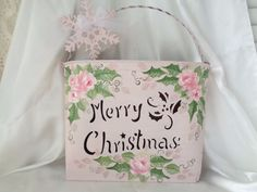 CHRISTMAS WALL POCKET hp roses chic shabby vintage cottage hand painted pink art #VINTAGECUTOUTDESIGN