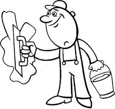 Worker with wrench coloring page. Black and white cartoon illustration of man worker or workman screw down a bolt with wrench for children to coloring book. Black And White Cartoon, Smurfs, Coloring Pages, Vector Free, Illustration, Blog, Plaster, Fictional Characters, Drawing For Kids