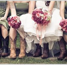 The bride's inspiration for cowboy wedding. Good information on how to bind the bouquet with tape and ribbon.