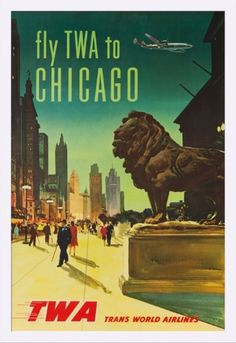 TWA - Chicago USA c. 1950 - Vintage Advertisement (23x36 Giclee Art Print, Gallery Framed, White Wood), Multi