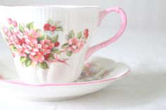 Vintage English Bone China Royal Albert Tea Cup & Saucer Blossom Time Series Apple Blossom Pattern  - c. 1966 - 1970's by MariasFarmhouse on Etsy