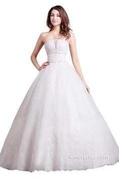 White Strapless Lace Bridal Ball Gowns Wedding Dresses http://www.ikmdresses.com/White-Strapless-Lace-Bridal-Ball-Gowns-Wedding-Dresses-p88067