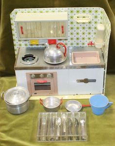 Vintage 'MS' Tin Plated Toy Kitchen