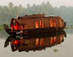 Log cabin barge.