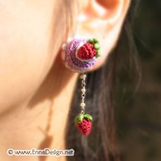 Micro Mini Amigurumi Cake and Strawberry Earring