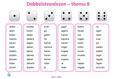 De spellingswoorden van thema 8 herhalen met het dobbelsteenlezen. Spelling, Circuit, Stage, Letters, Writing, Learning, School, Occupational Therapist, Studying