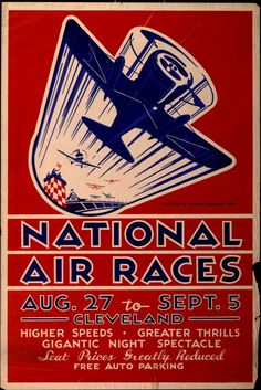 Advertising poster for National Air Races in Cleveland, Ohio, August 27 - September 5, 1932