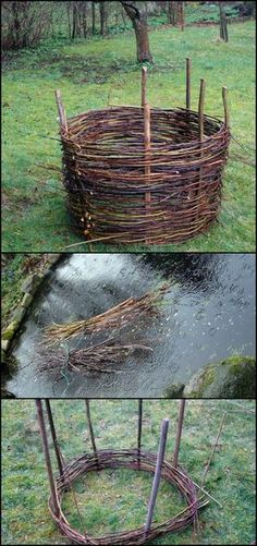 Need a raised garden bed? Here is an idea that's easy to do, beautiful and essentially free! Build your own elevated flower/garden bed by weaving branches and twigs - a wattle raised garden bed. You can also use this technique to make fences and garden e Raised Bed Garden Design, Building A Raised Garden, Jardin Decor, Garden Edging, Garden Hedges, Garden Structures, Garden Spaces, Spring Garden, Raised Beds