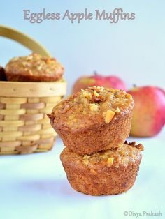 Eggless Apple Muffin Recipe - Modifications: I used cup brown sugar, cup white sugar, and sour cream instead of yogurt. I also filled the muffin cups almost to the brim. They rose beautifully and did not overflow. Eggless Muffins, Eggless Desserts, Eggless Recipes, Eggless Baking, Apple Desserts, No Bake Desserts, Eggless Apple Cake Recipe, Savory Muffins, Baking Desserts