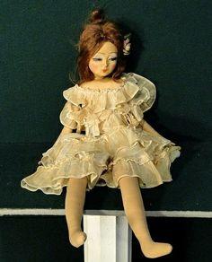 Vintage Blossom Asian Cloth Boudoir Bed Doll