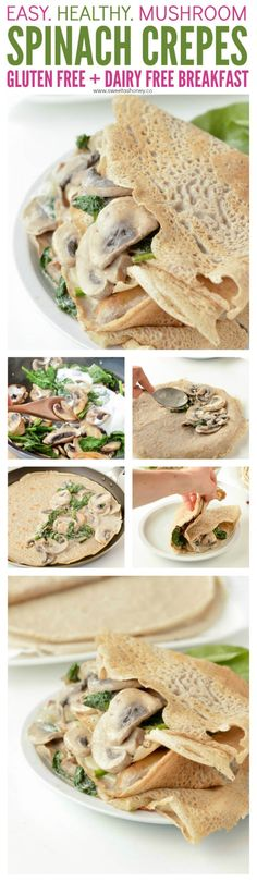French Buckwheat Crepes with Spinach Mushroom filling, 100% gluten free savory crepes made of buckwheat flour. An easy, healthy 4 ingredients savory crepes recipe to stuff with ham and cheese or spinach and mushrooms. #crepes #buckwheat #glutenfree