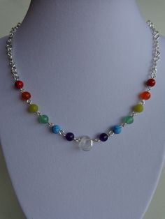 Seven Chakras Necklace, Gemstones Necklace, Meditation and Harmony Necklace, Wire Wrapped Necklace, Handmade by Iris Jewelry Creations.