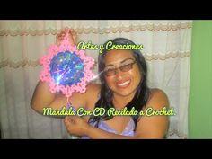 MANDALA CON CD RECICLADO TEJIDO A CROCHET - YouTube Crochet Shawl, Captain Hat, Crochet Earrings, Youtube, Hats, Videos, Hair, Recycled Crafts, Fun Crafts