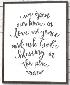 We Open Our Home In Love and Grace and Ask God's Blessing in This Place / Farmhouse Signs / Farmhouse Decor / Prayer Bible Verse Wall Art / Housewarming Gift / Farmhouse Dining Room / Farmhouse Kitchen Decor / Farmhouse Print Studio