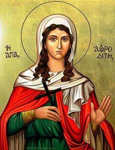Beautiful icon handmade on canvas- Saint Afroditi Catholic Art, Catholic Saints, Religious Icons, Religious Art, Byzantine Icons, Angel Pictures, Angels And Demons, Orthodox Icons, Mother Mary