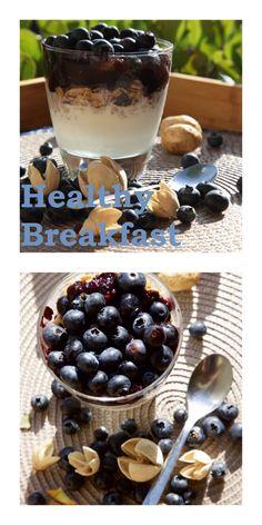 Healthy breakfast - granola, blueberries, jam made in bread machine…