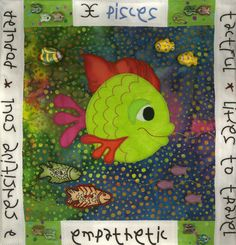 """Pisces"" by Deb Roberts,  Zodiac framed quilt at Blue Stem Crafts"