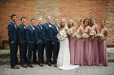 Slate Blue and Blush Bridal Party | Mindy Sue Photography | Wintery Blush and Slate Blue Wedding