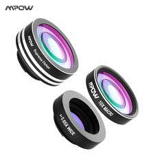Origianl MPOW 3 in 1 Clip-On Phone Camera Lens Kit 180 Degree Fisheye Lens + 0.65X Wide Angle + 10X Macro Lens for Cellphones //Price: $12.99//     #electonics