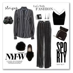 """""""Let's Talk Fashion!"""" by quintan ❤ liked on Polyvore featuring Steve Madden, Boohoo, Cate & Chloe, Givenchy, Lanvin, Nikon, NYFW, stripes, stylingidea and shopitques"""