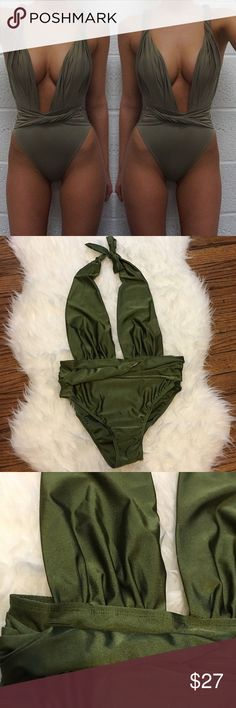 Halter Swimsuit Hunter Green Halter Top High Waisted One Piece Swimsuit  •Size: medium  •lining front side  •NWT  🚫trade Swim One Pieces