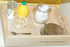 Homemade non-toxic silver polishing lesson on our Montessori shelves at Simply Natural Mom.