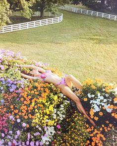 Juergen Teller Stephanie Seymour Jeff Koons 2002 flower puppy print