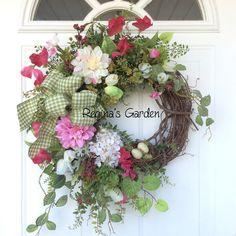 Spring Wreath-Easter Wreath-Front Door by ReginasGarden on Etsy