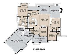 Craftsman Plan: 1,848 Square Feet, 3 Bedrooms, 2 Bathrooms - 9401-00014 Craftsman Style House Plans, Ranch House Plans, House Floor Plans, Craftsman Ranch, Small Floor Plans, Bbg, Architectural Design House Plans, Architecture Design, Residential Architecture