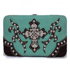 Turquoise and Brown Western Rhinestone Cross Wallet In Stock: 23