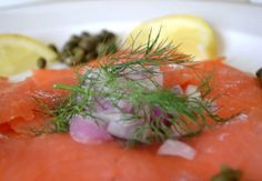 Simple but delicious: salmon, dill, onion, capers and lemon. | murphydave.hubpages.com