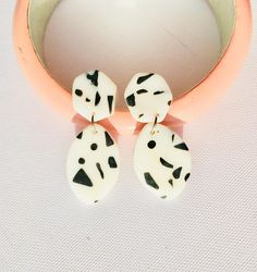 Black and White Polymer Clay earrings. Confetti earrings. Monochrome earrings. Geometric earrings. Hexagon earrings. Retro geometric earrings. Terrazzo earrings.